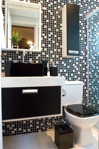 Limpar Banheiro Preto : Banheiros preto e branco decorados fotos lindas