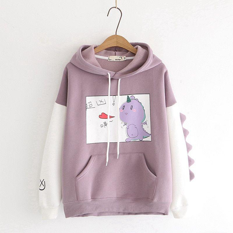 Cute Hoodie Kawaii Hoodie Kawaii Clothing Pastel Goth Dinosaur Print Hoodie Hoodie Aesthetic Clothing Harajuku Anime Hoodie Kawaii