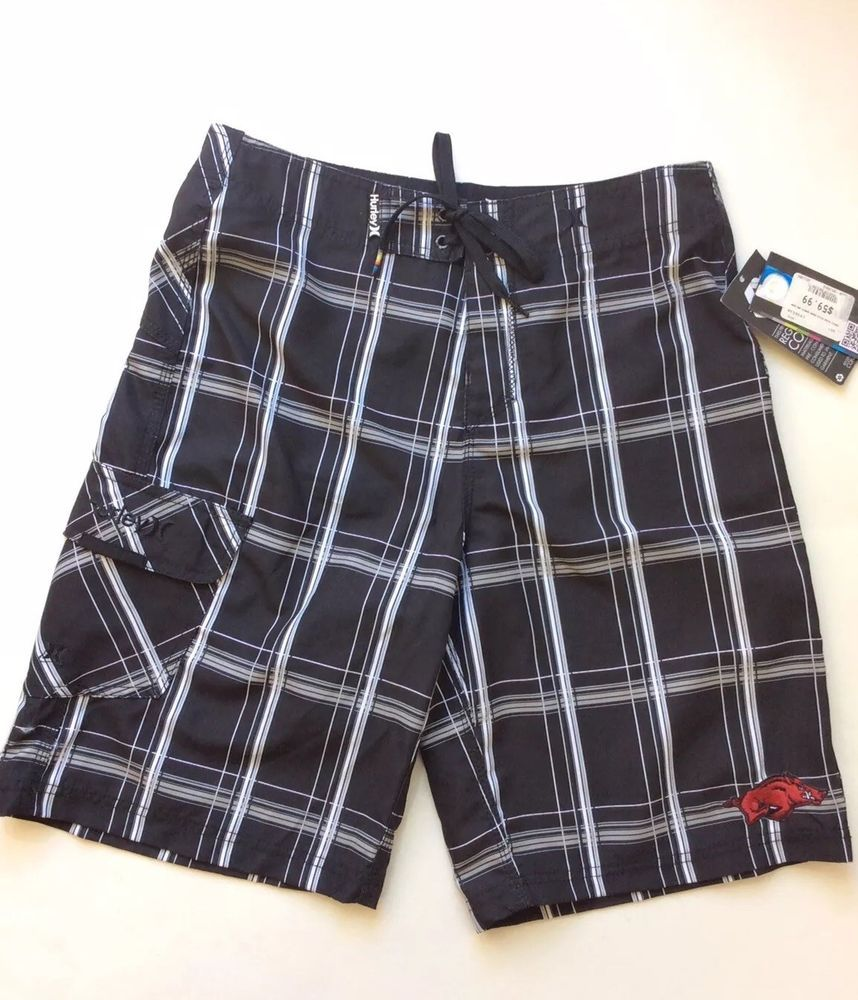 5408b7f4fa552 Hurley Black Plaid Board Shorts Mens sz 30 Arkansas Razorbacks Swim Trunks  $60 #fashion #