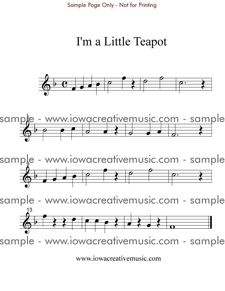 All Music Chords music sheet online free : Free Flute Sheet Music - I'm a Little Teapot; in F; Flute | Flute ...