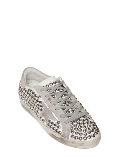 GOLDEN GOOSE DELUXE BRAND - 10MM SUPER STAR STUDDED LEATHER SNEAKERS - LUISAVIAROMA - LUXURY SHOPPING WORLDWIDE SHIPPING - FLORENCE