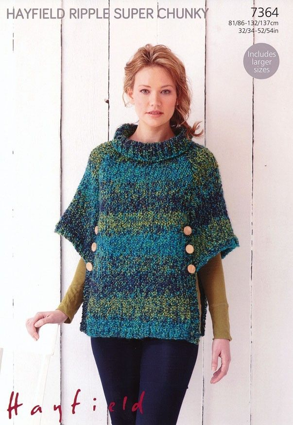 Poncho in Hayfield Ripple Super Chunky - 7364. Discover more ...