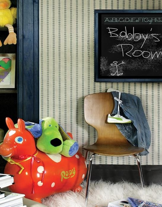 HI+LINE - Crezana Designs embroidered wallcovering | Boys room