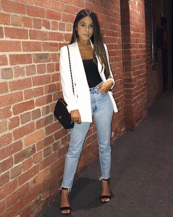 Duo estiloso: calça jeans + blazer   Looks, Looks casuais e