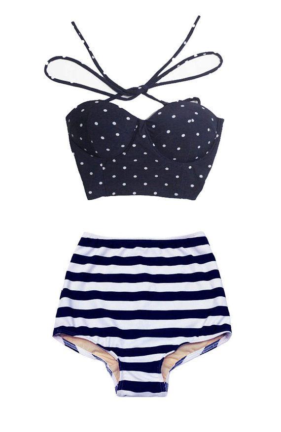 Navy Blue Polka Dot Top And Navy Blue White Stripe High