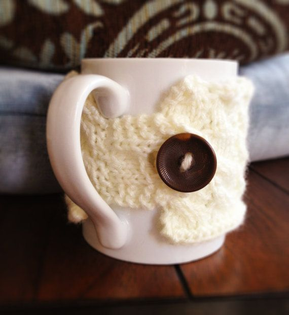 hand knit mug cozy by AndBeGladInIt on Etsy, $9.00