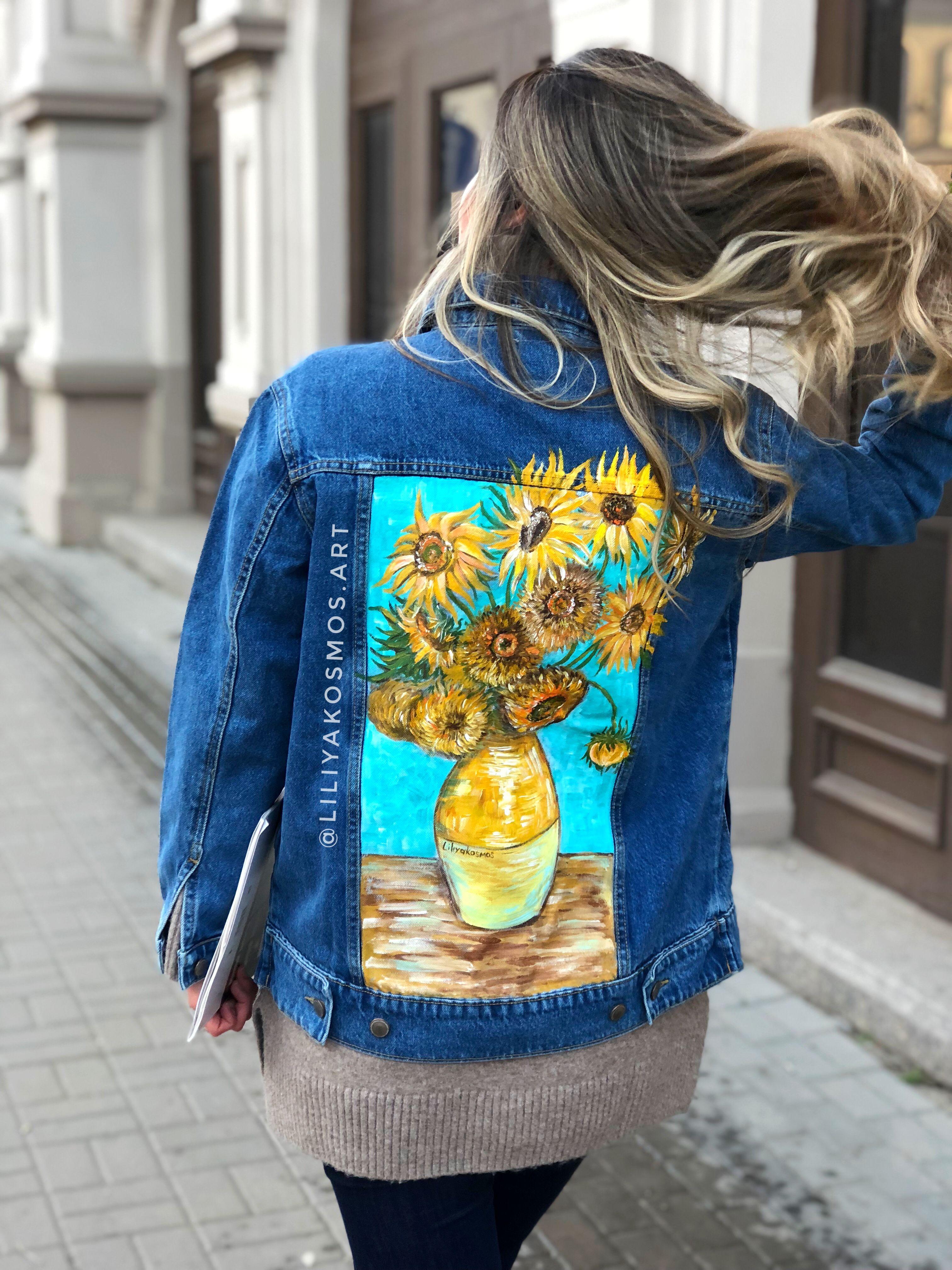 Painted Custom Van Gogh Sunflowers Denim Jacket Price Only Etsy In 2021 Painted Jacket Painted Denim Jacket Hand Painted Denim Jacket [ 4032 x 3024 Pixel ]