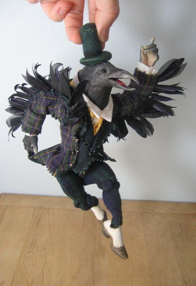 Anthropomorphic Crow Art Doll. $450.00, via Etsy.