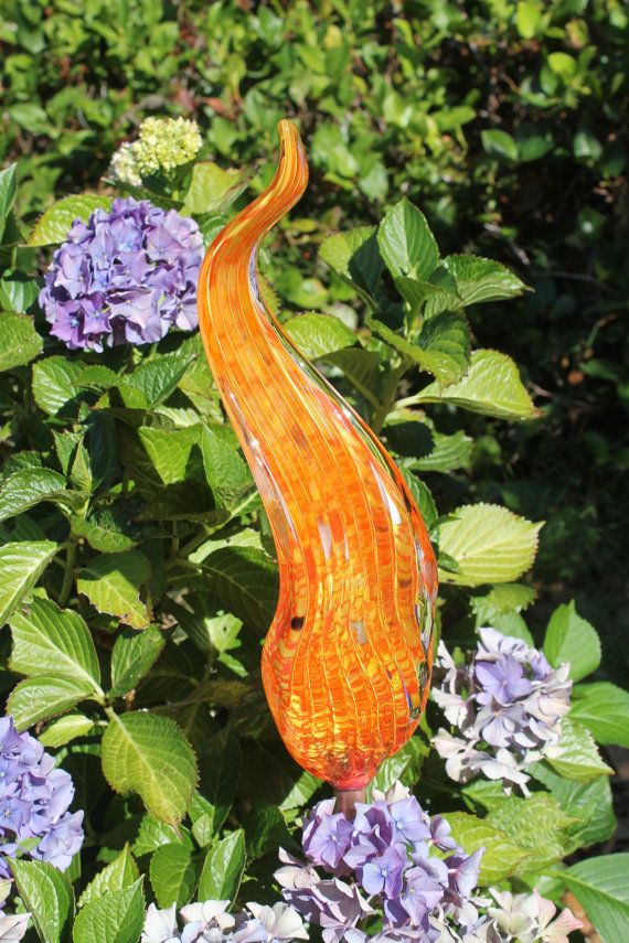 Tangerine Orange Glass Leaf Garden Art Sculpture Outdoor Decoration   Outdoor  Garden Art