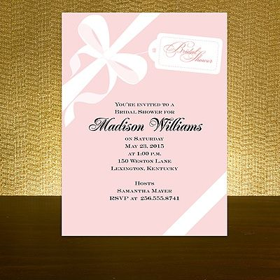 wrapped in ribbon pink bridal shower invitation bed bath beyond