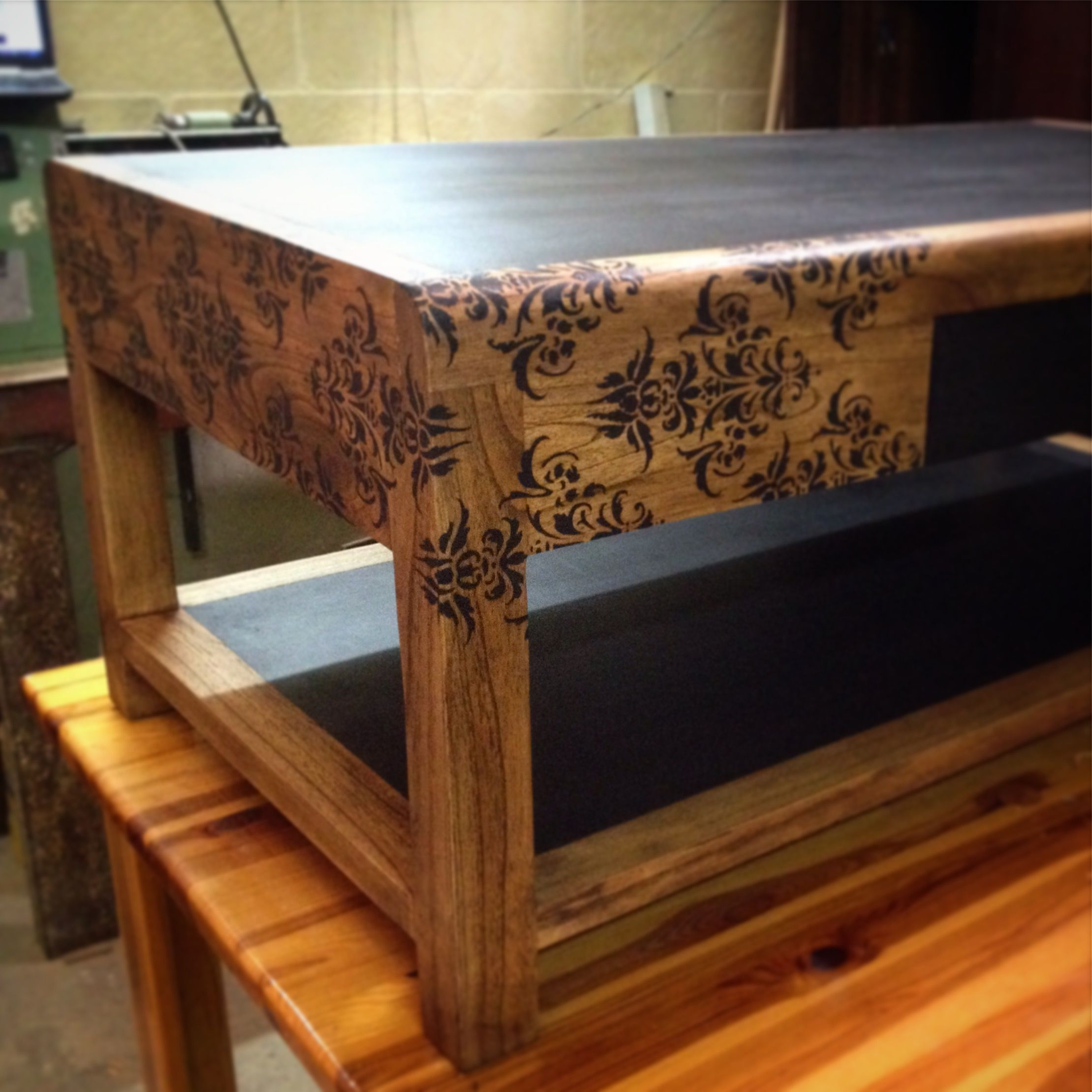 Walnut coffee table fully restored and refinished shelftop and