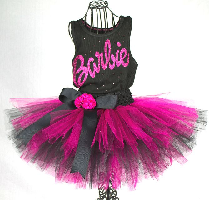 Barbie Tutu / Barbie Birthday Party Barbie Toddler Girls Birthday Outfit / Barbie Logo Shirt / Barbie Dress By Aldabella Scarpa