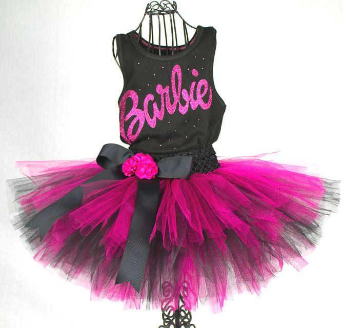 Barbie Tutu / Barbie Birthday Party Barbie Toddler Girls Birthday Outfit /  Barbie Logo Shirt / - Barbie Tutu / Barbie Birthday Party Barbie Toddler Girls Birthday