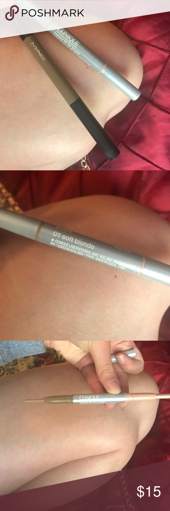 """Like new Clinique and MAC eye brow fillers The Clinique is in soft blonde and the MAC is """"A46"""" in light brown Clinique Makeup Eyebrow Filler"""