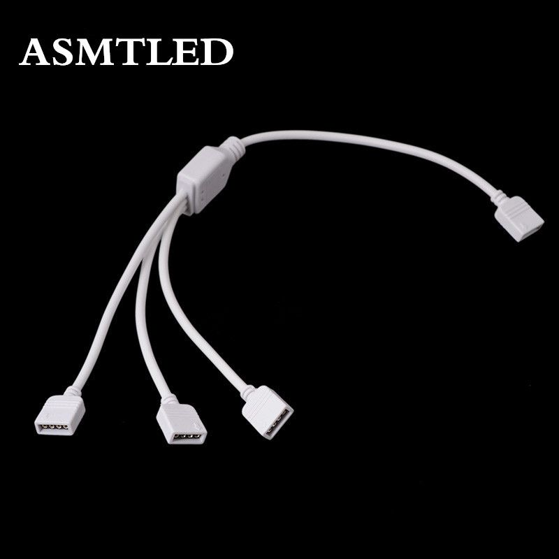 Asmtled High Quality 1pcs 4 Pin Rgb Connector 1 To 2 3 4 Female To Female Splitter Female Extension Wire Cable For Led Strip Led Strip Splitters Earbuds