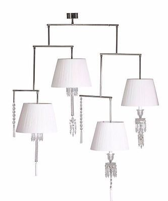 Baccarat crystal mobile torch four light chandelier a levy white lamp shades