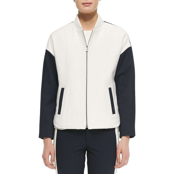 Vince Colorblock Knit Bomber Jacket (660 SAR) ❤ liked on Polyvore featuring outerwear, jackets, long bomber jacket, knit bomber jacket, blouson jacket, knit collar jacket and long jacket