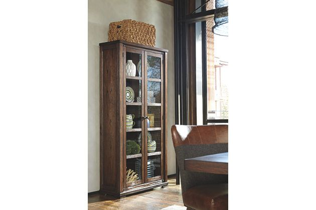 ashley furniture curio cabinet Merging a wonderfully clean lined profile with rich, earthy  ashley furniture curio cabinet