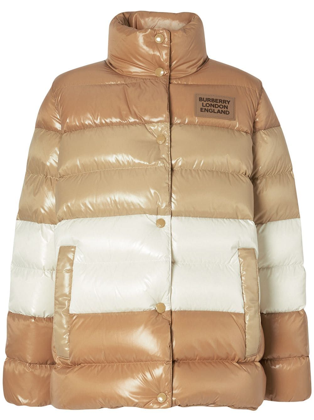 Burberry Logo Patch Panelled Puffer Jacket In Brown Modesens In 2021 Patch Logo Puffer Jackets Quilted Jacket [ 1334 x 1000 Pixel ]