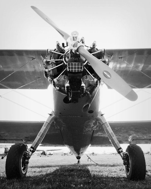 Boeing Stearman Model 75 Plane Black And White Aviation