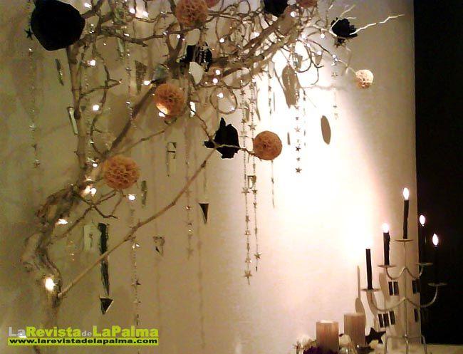 Decoraci n navidad rbol con ramas pintadas flores - Plantas artificiales para decorar ...