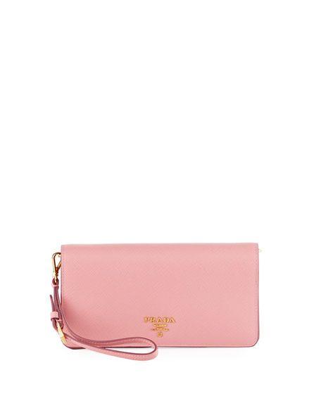 e40bbc178a31 PRADA Saffiano Flap Phone Wristlet Wallet W/ Crossbody Strap, Pink. #prada #
