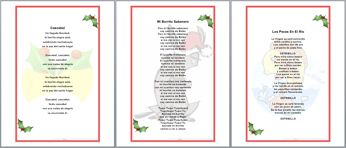 lyrics to popular spanish christmas carols provided by annek at confesiones y realidades