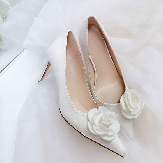 Elegant White Prom Flower Pumps 2020 9 Cm Stiletto Heels Pointed Toe Pumps Stiletto Heels Pointed Toe Pumps Flower Heels