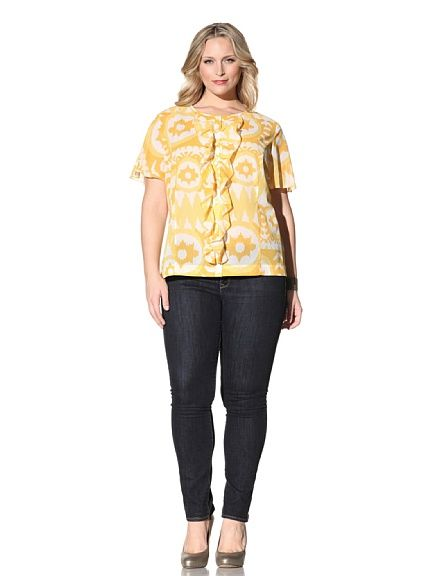 5f6adad5aa796 Z from Zenobia Women s Plus Short Sleeve Ruched Front Blouse (Sunflower)