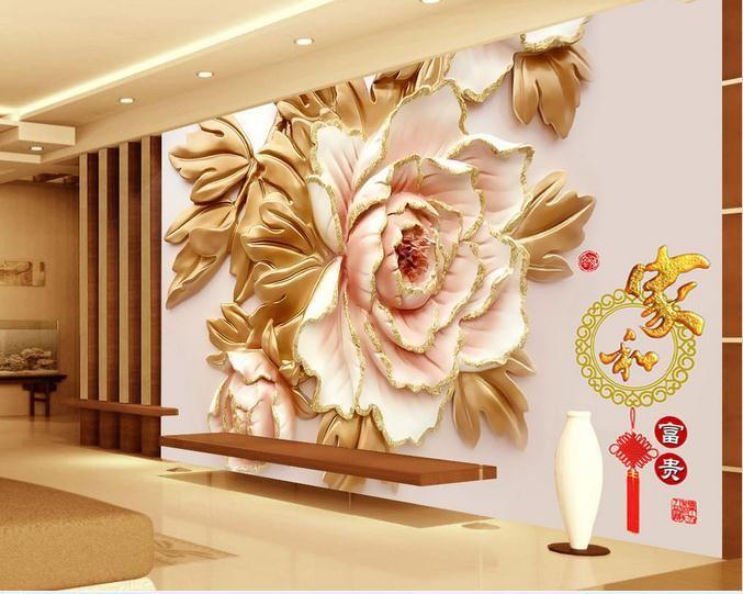 Customize Wallpaper Papel De Parede Chinese Peony Flower 3d Stereoscopic Wall 3d Mural Wallpaper 3d Wallpaper Fr Mural Wallpaper Wall Wallpaper Custom Wall Art