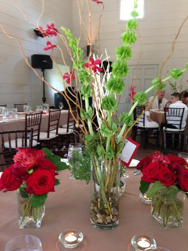 My Table And Centerpieces Tall Vases With Curly Willow Bells Of