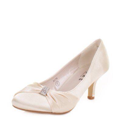 453575c6387 Womens low Kitten Heel Bridal Wedding Ivory Shoes SIZE 3-8  Amazon.co.uk   Shoes   Bags