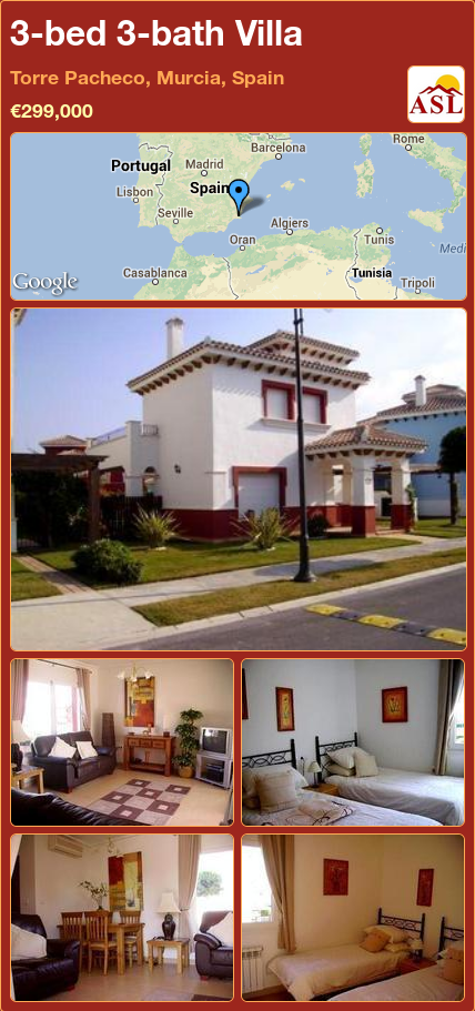 3-bed 3-bath Villa in Torre Pacheco, Murcia, Spain ►€299,000 #PropertyForSaleInSpain