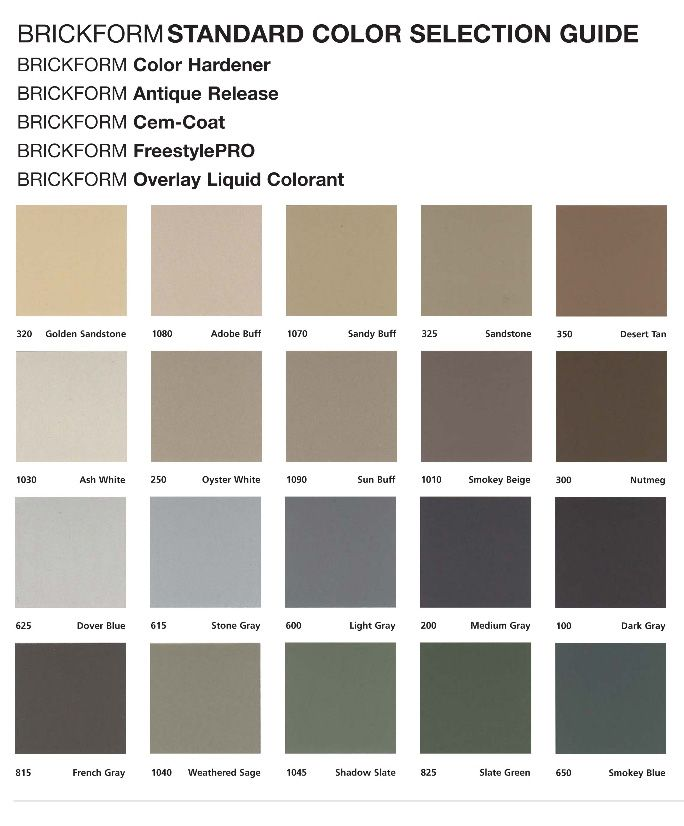 Brickform Standard  Colors Chart For Stamped Concrete  Samples