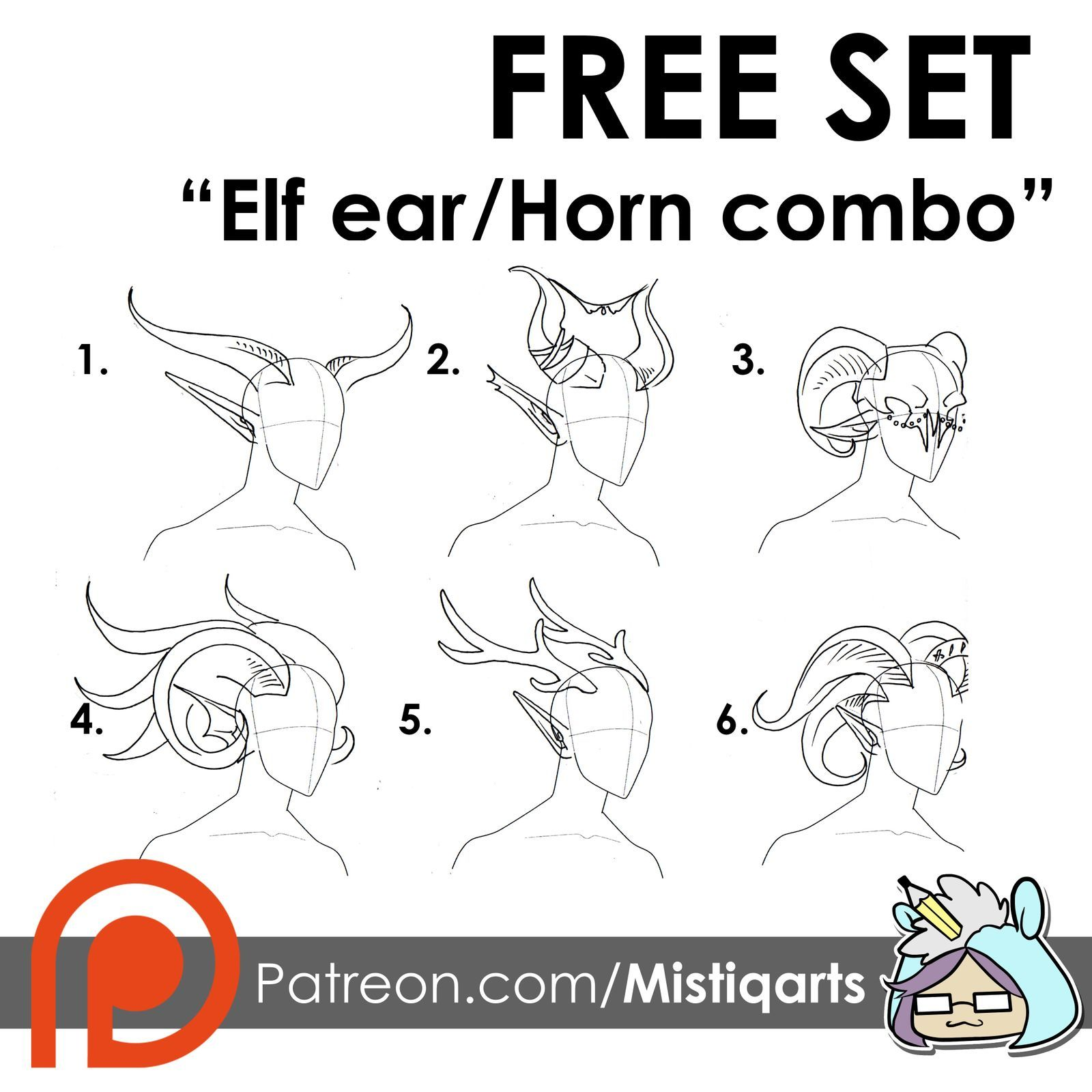Free Pack Elf Ears And Horns Combo Sets Mistiqarts On Patreon Elf Ears Graphic Novel Illustration Elf