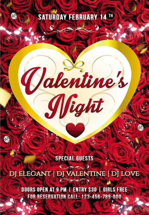 Flyer Psd Template Valentines Night Party Photoshop Clipart