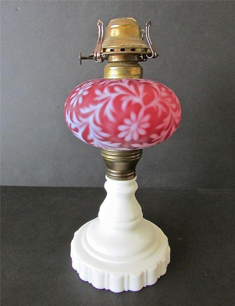 Satin Cranberry Fern & Daisy Opalescent 1880's Kerosene Oil Lamp, Hobbs/Fenton?