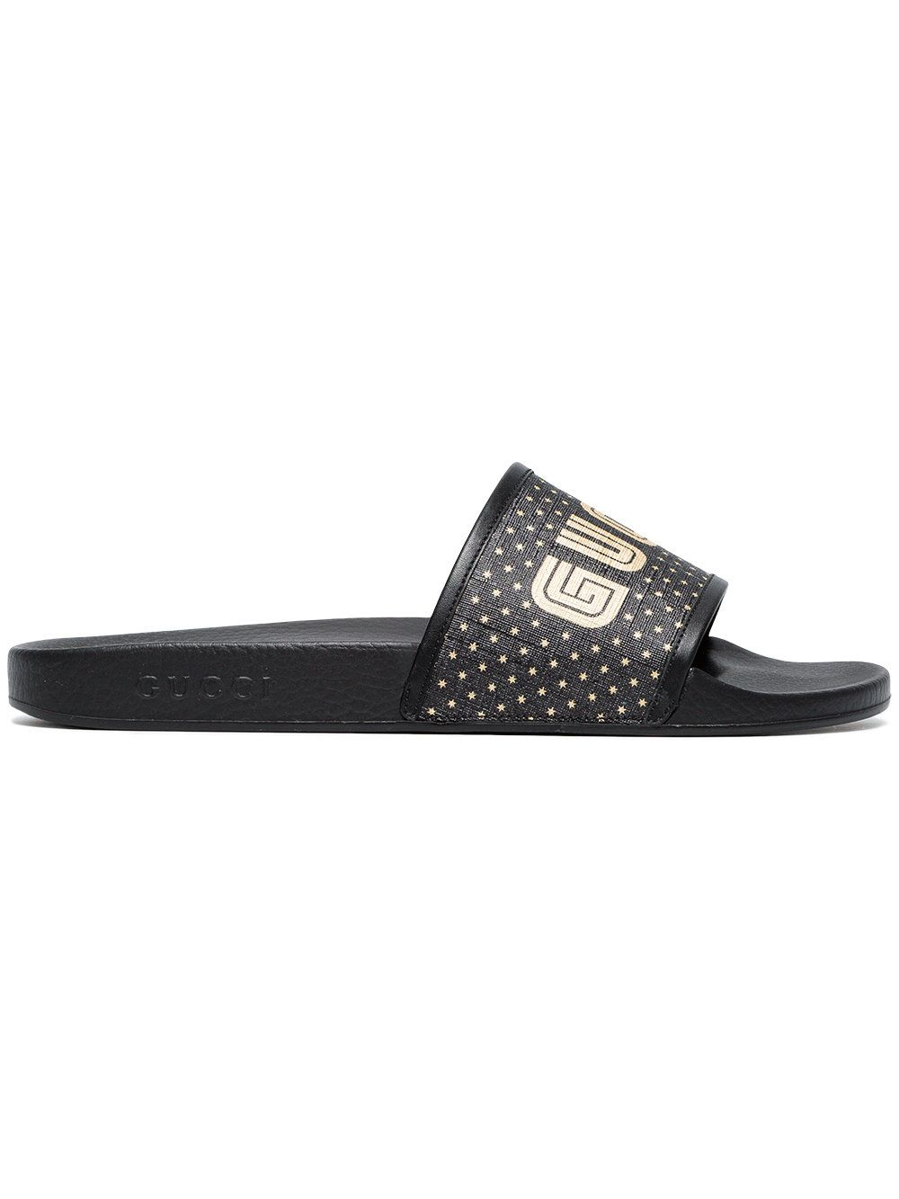 8d8fc6fce2d8 GUCCI BLACK GUCCY SLIDES WITH STARS. #gucci #shoes # | Gucci Men ...