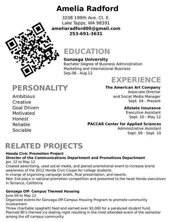 Creative Resume Alternate Layout by Amelia Radford, via Behance