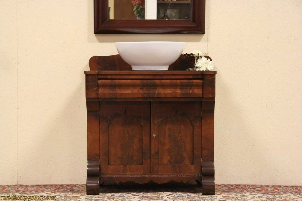 Turn Any Antique Commode Or Dry Sink Into A Bathroom Sink Find Commodes At Reasonable Prices At Auction Go T Antique Dry Sink Dry Sink Vessel Sink Vanity