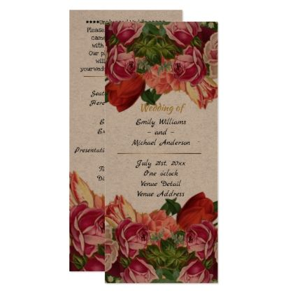 Vintage Roses Wedding Program Template Kraft  Vintage Wedding