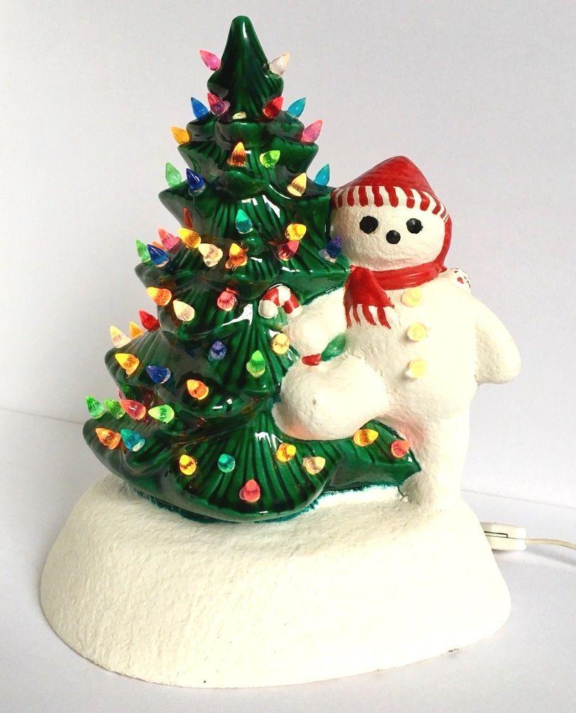 Vintage Ceramic Light Up Snowman Christmas Tree Antique Holiday