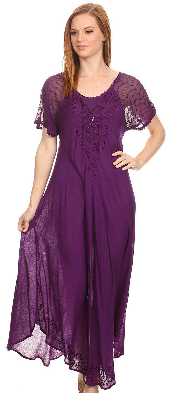 Sakkas shasta lace embroidered cap sleeves long caftan dress