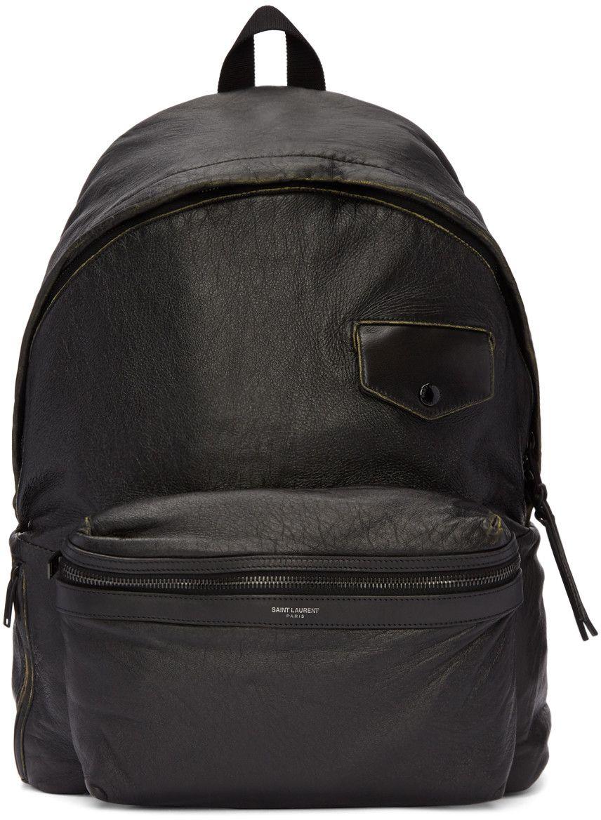 37daf275bdd3 Saint Laurent - Black Vintage City Backpack Mens Designer Backpacks
