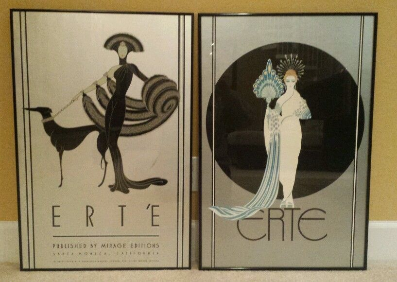 Vtg erte symphony in black athena framed prints signed ebay