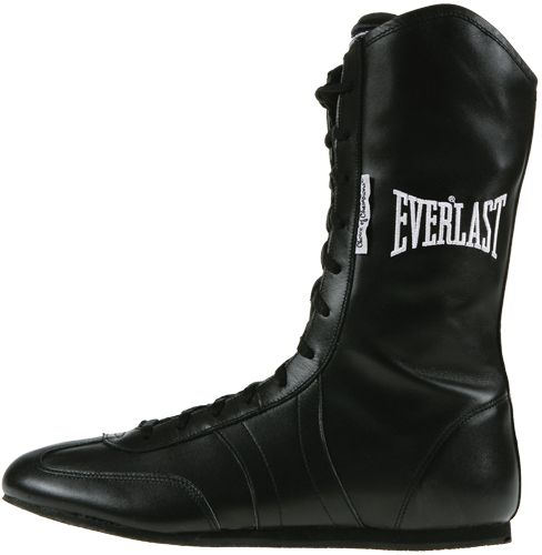 everlast leather boxing shoes black traditional 12