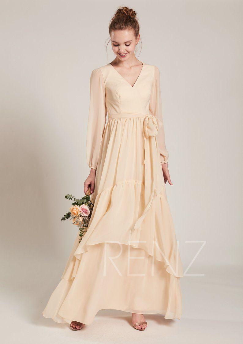 Bridesmaid Dress Light Champagne Chiffon Dress Wedding Dress Etsy Prom Dresses With Sleeves Champagne Chiffon Dress Etsy Wedding Dress [ 1123 x 794 Pixel ]