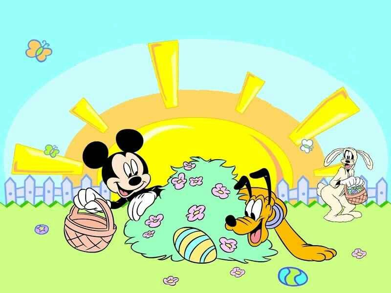 Mickey, Pluto, and Goofy hunting Easter eggs