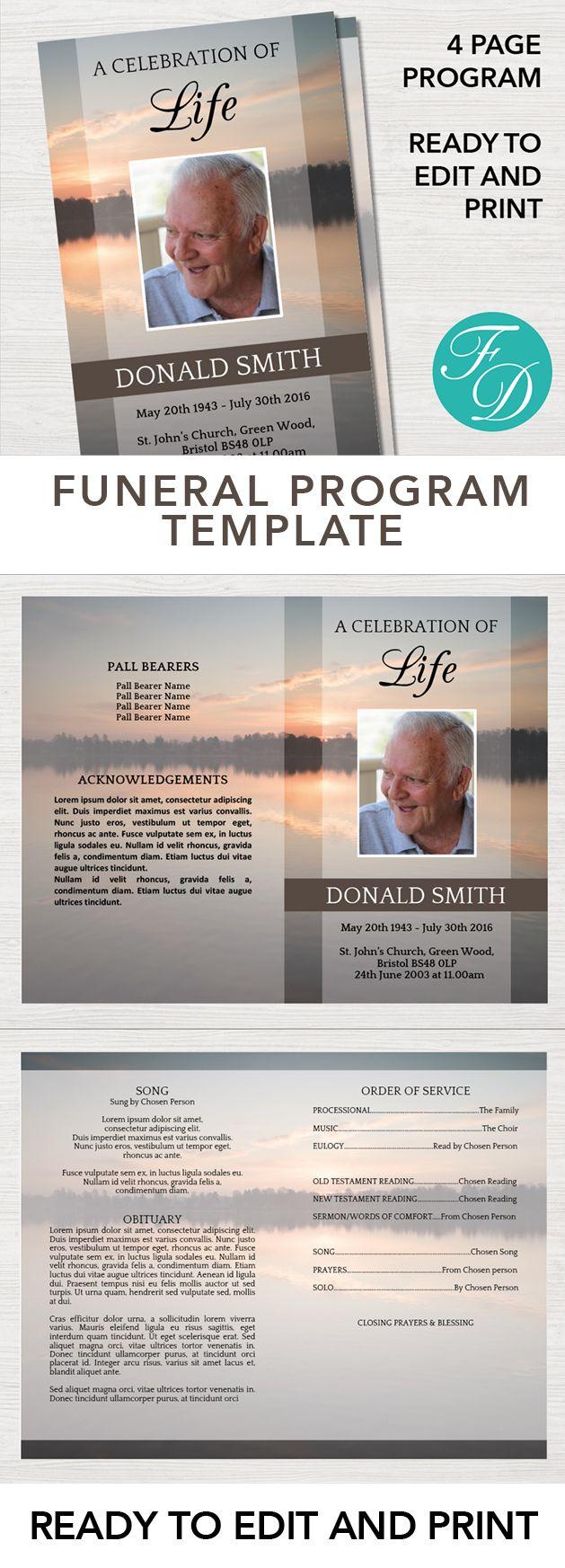 Funeral program template, order of service, celebration of life ...