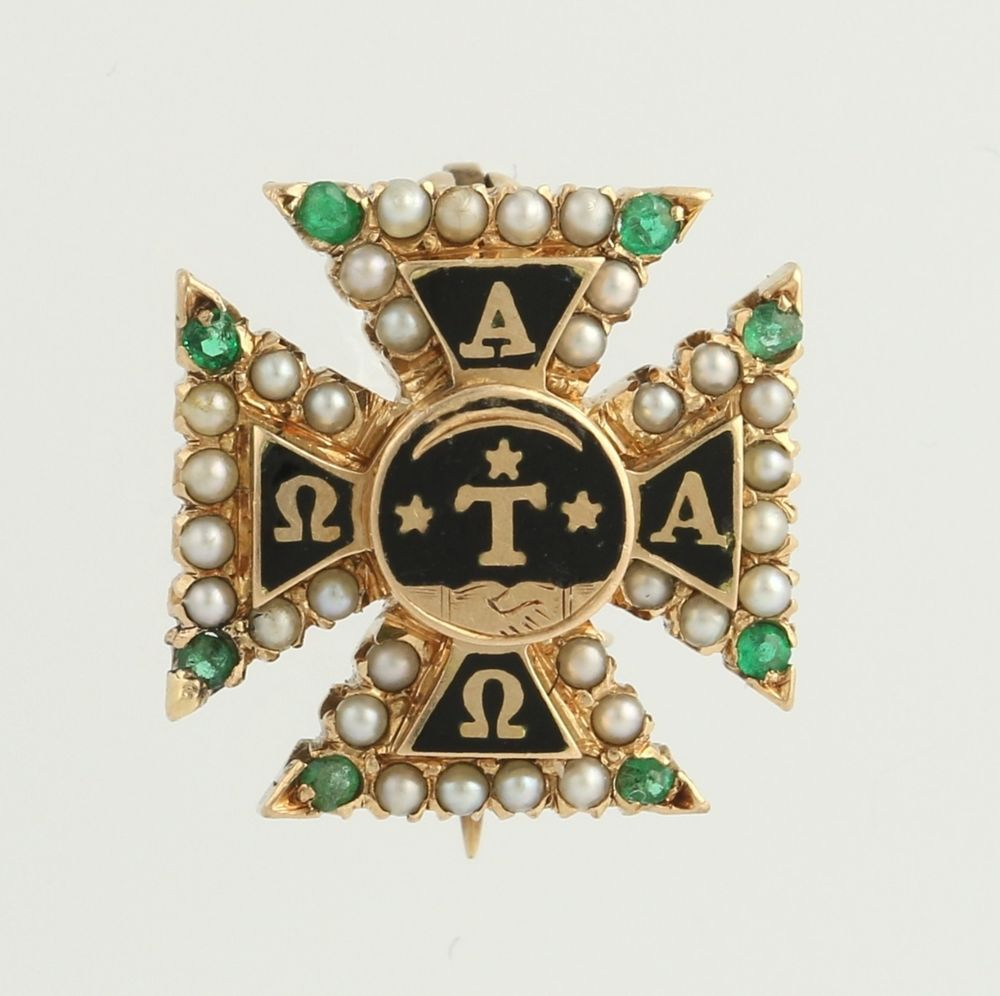 Alpha Tau Omega Vintage Fraternity Badge Pin - 14k Yellow Gold c.1895-1905